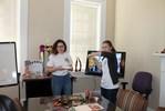 "<p>Russian students Alisa Matlakhova, left, and Anna Klimenteva begin their presentation on ""Russian Pancake Day.""</p>"
