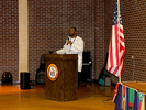 <p>Dr. John Igwebuike, Vice Provost for Academic Affairs and Student Records, reading the Proclamation for the 2018 Multicultural Festival.</p>