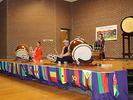 """<p>For this part of the performance, Taikoza members played on a smaller drum called a """"Shime,"""" similar to what we know as a snare drum.</p>"""