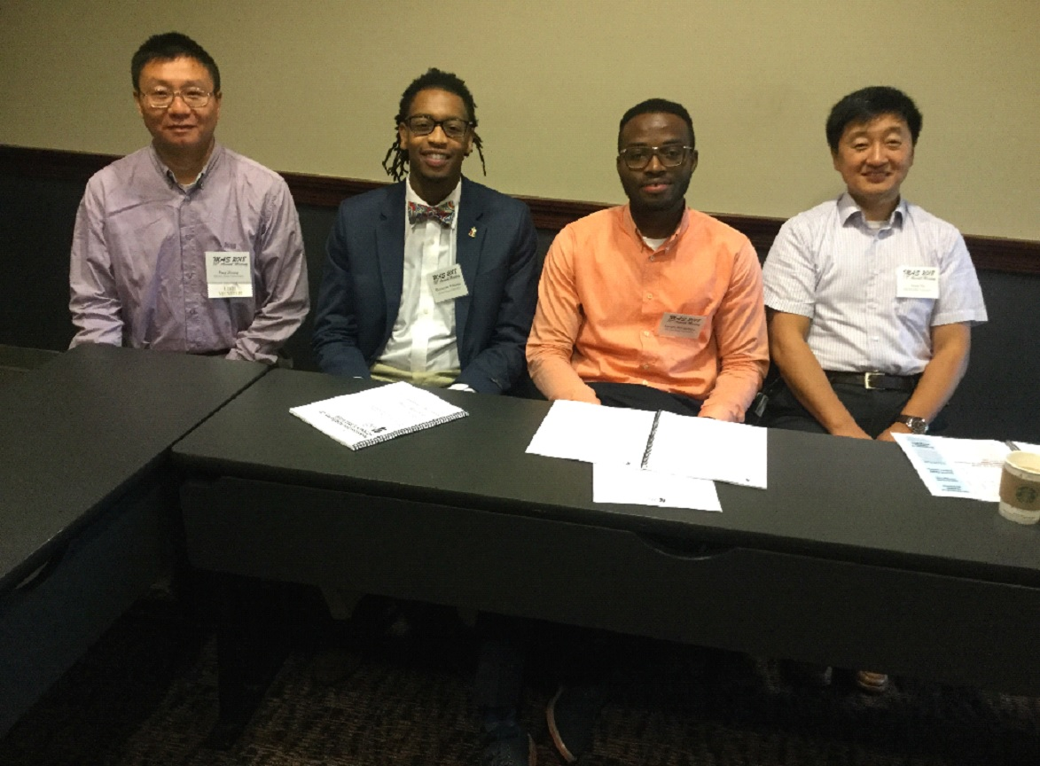 From left to right: Dr. Ping Zhang, Mr. Devontrae Williams, Mr. Joseph Maxwellson and Dr. Lixin Yu