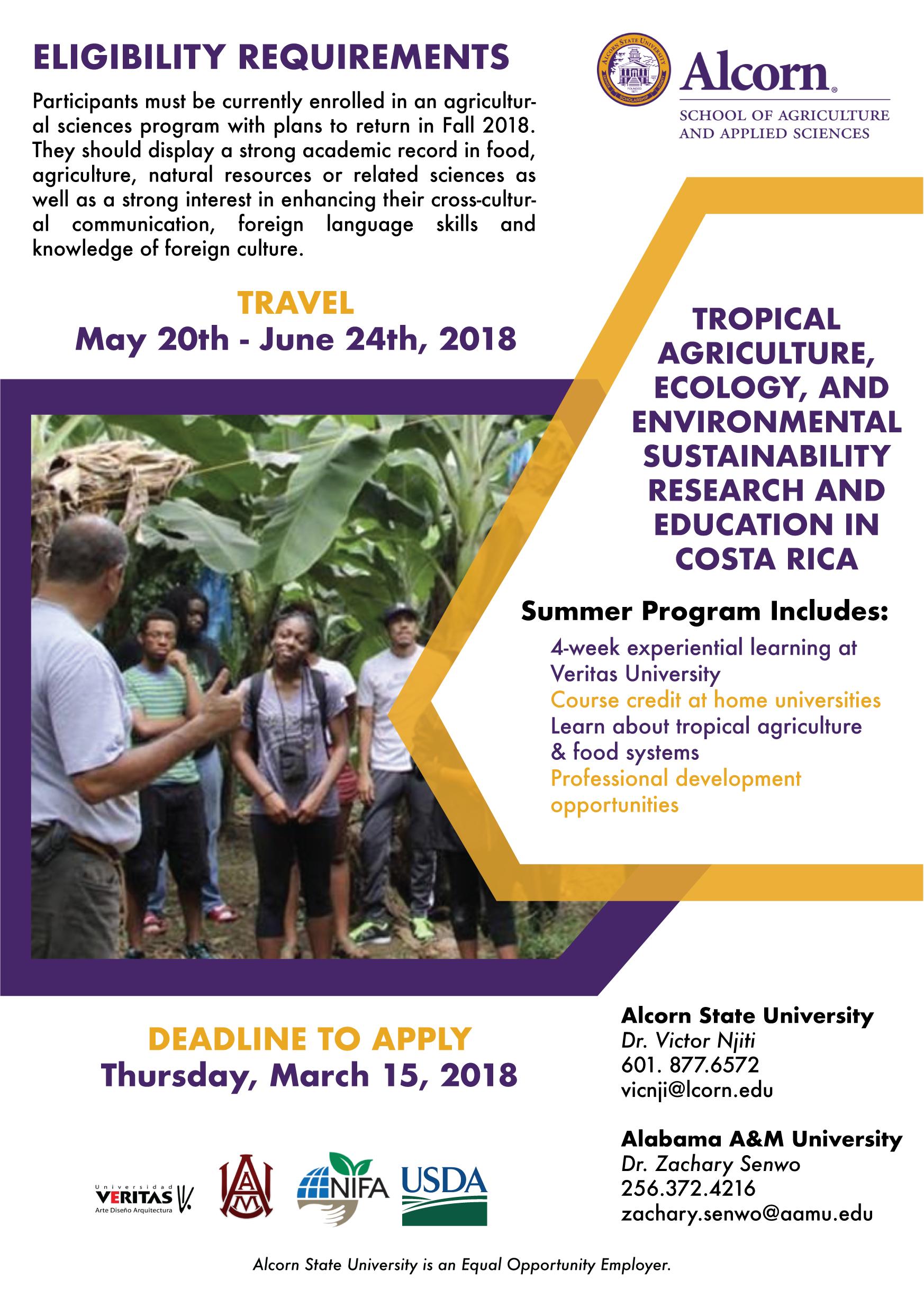 Costa Rica Summer Program Alcorn State University Example Diagram Courseoffering Click Here To Register