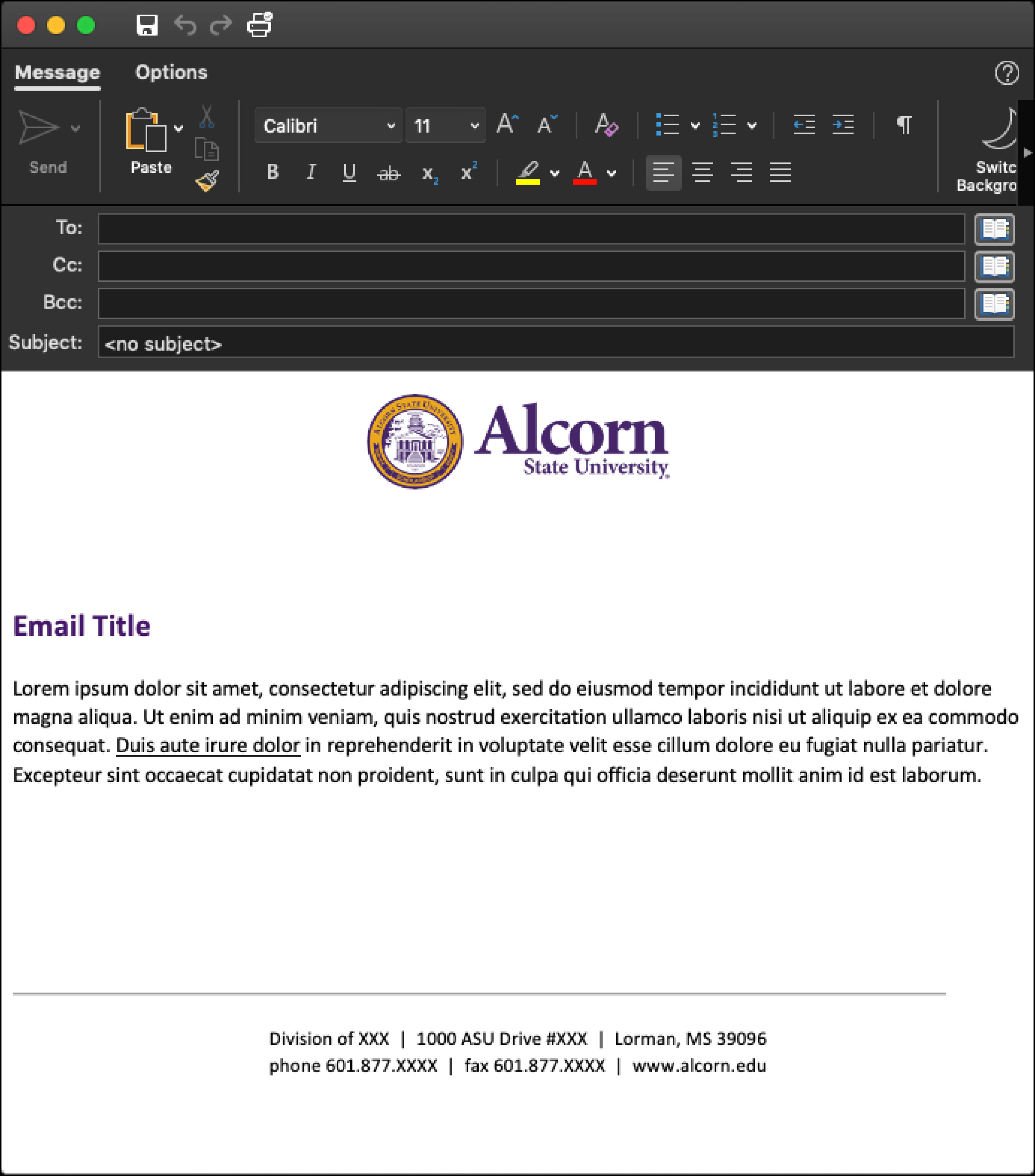 (Picture of email template with Alcorn logo mark)