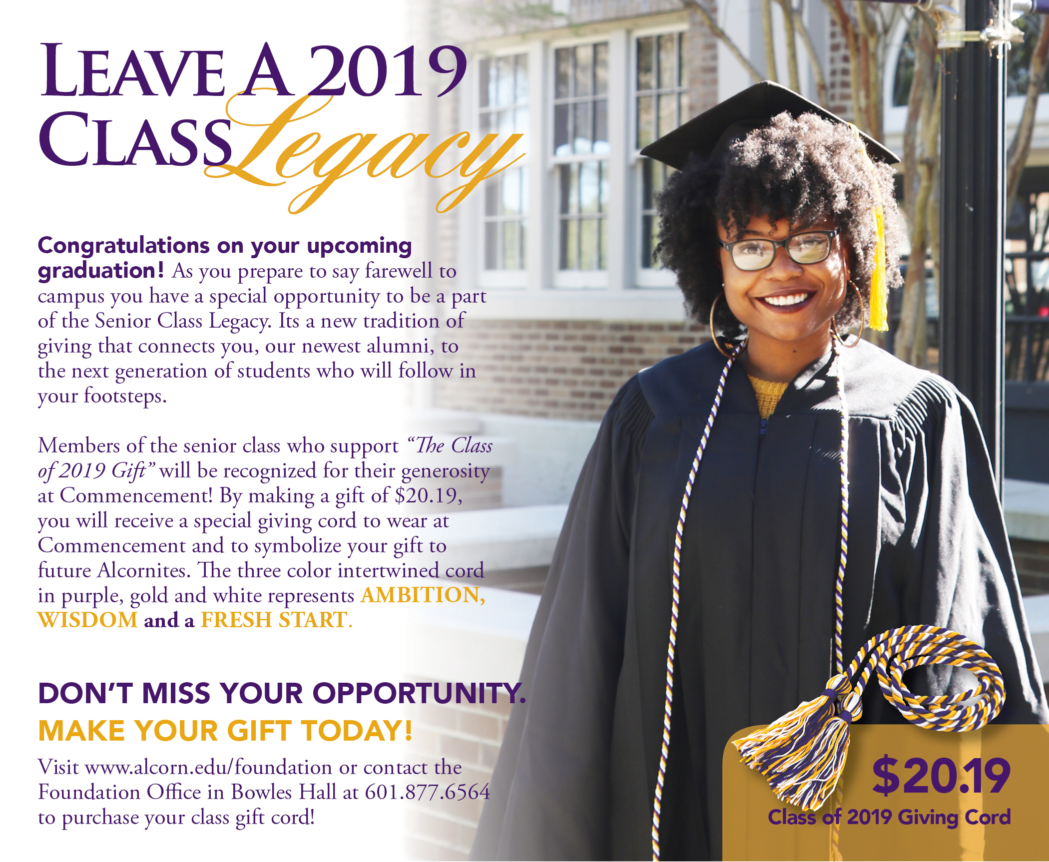 2019 Giving Cord Commencement Campaign Flyer