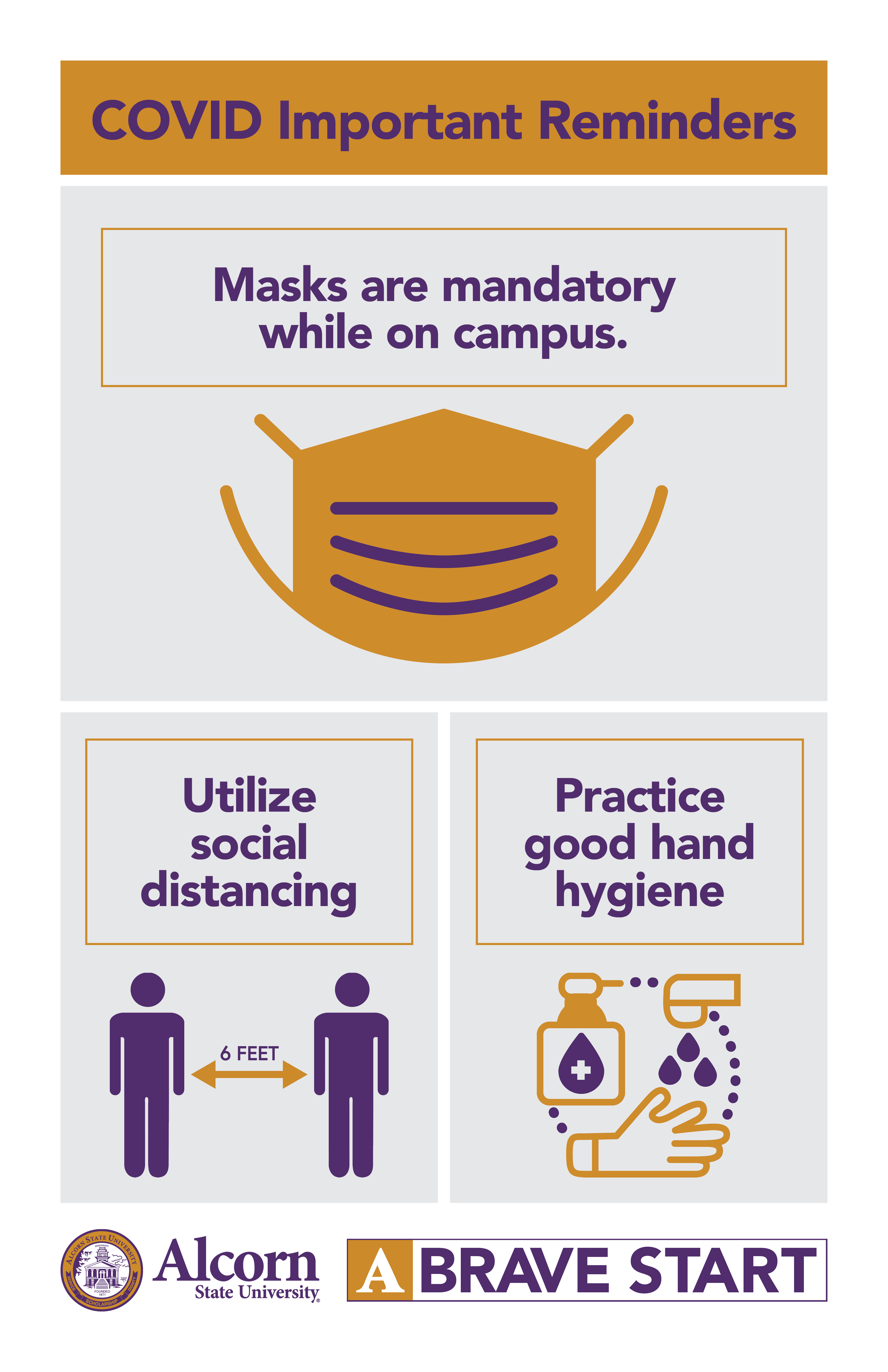 COVID Important Reminders. Masks are mandatory while on campus (Picture of a mask). Utilize social distancing (Picture of two people six feet apart). Practice good hand hygiene (picture of person washing hands). (Alcorn logo mark. A Brave Start logo mark).