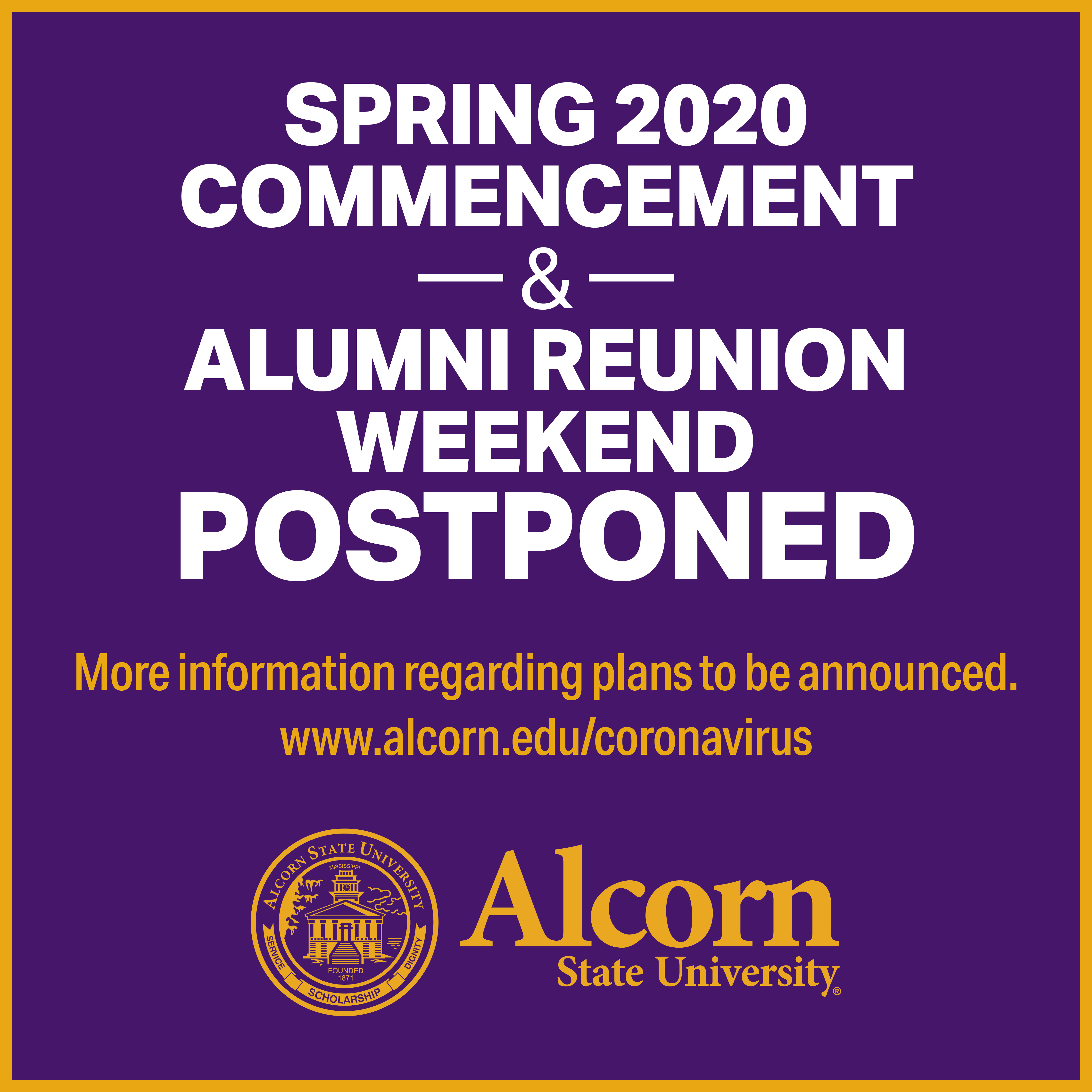 Spring 2020 Commencement and Alumni Reunion Weekend Postponed