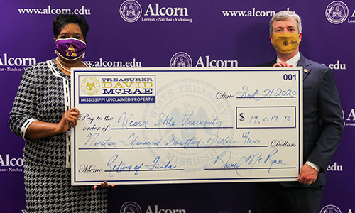 Alcorn receives $20,000 in unclaimed property from the State Treasurer